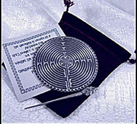 Pewter Chartres Labyrinth with card and pointer