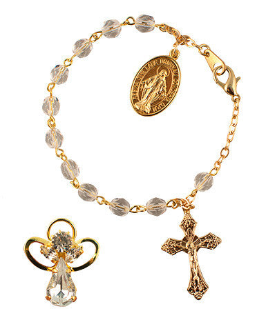 Angel Pin set and Rosary Bracelet