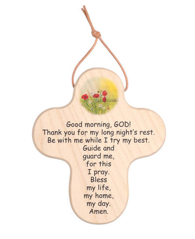 Wood Cross: Good Morning, God & Good Night