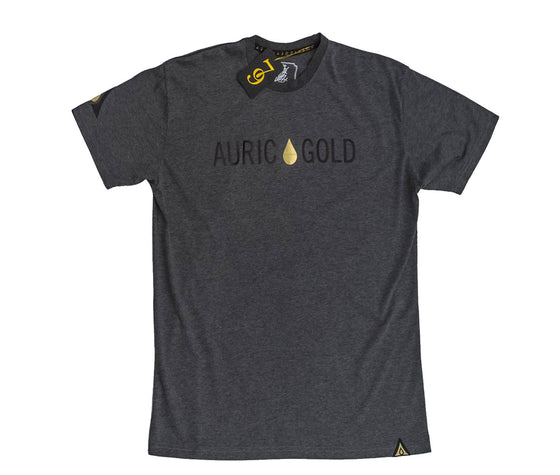 "Auric Gold ""Signature Drop"" Foil T-Shirt (Carbon Grey)"