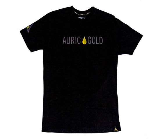 "Auric Gold ""Signature Drop"" Foil T-Shirt (Ultra Black)-Auric Gold"