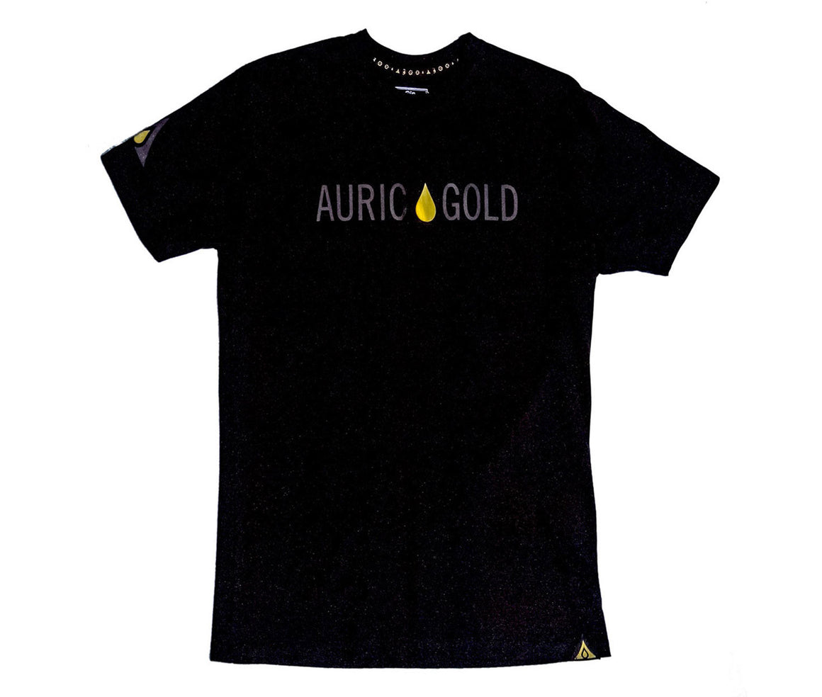 "Auric Gold ""Signature Drop"" Foil T-Shirt (Ultra Black)"