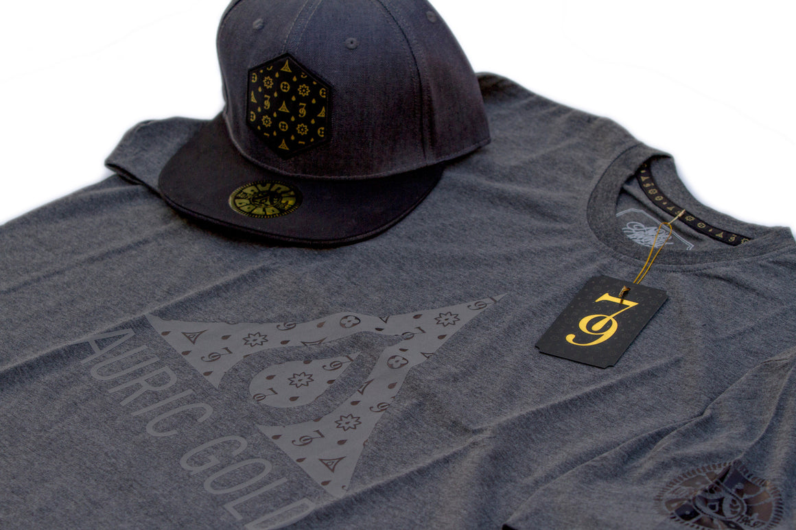 "Auric Gold ""The Don Print"" Reflective/Foil Premium T-Shirt (Carbon Grey) Limited Release 79-0014"