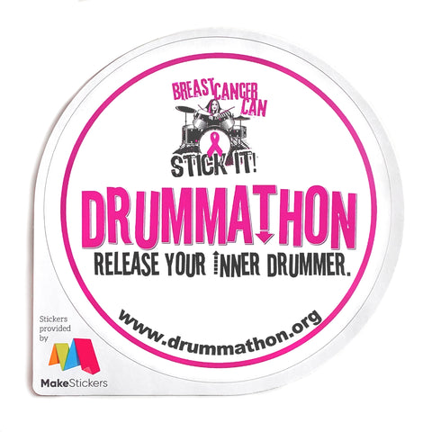 Round Stickers 4x4 - Drummathon Breast Cancer Can Stick It!