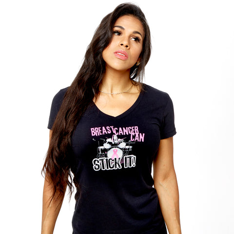 Breast Cancer Can Stick It! Soft V-Neck
