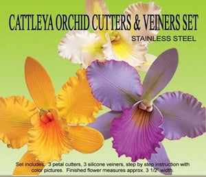 set of 3, petal, sepal and throat Cattleya Orchid Silicone Veiner