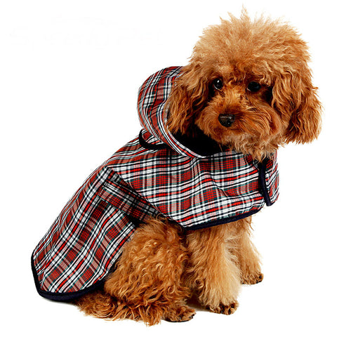 Dog Raincoat Jacket Reflective Waterproof Plaid Coat with Hood