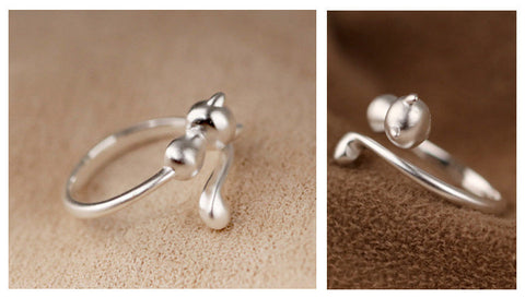Beautiful Sterling Silver Adjustable Open Cat Ring For Women