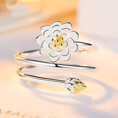 925 Sterling Silver Jewelry Floral Lotus Flower Stackable Ring
