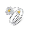 Image of 925 Sterling Silver Jewelry Floral Lotus Flower Stackable Ring