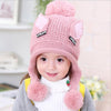 Image of Adorable Beanies Cat Ears Winter Child Knitted Earflaps Pom-poms