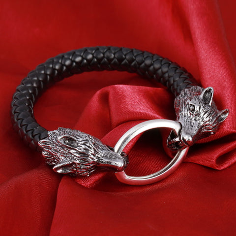 Men Stainless Steel Leather Bracelets  Wolf Head, Skull, Dragon