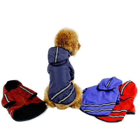 Dog Raincoat Waterproof Pet Clothing Apparel Hooded Reflective Striped Jacket