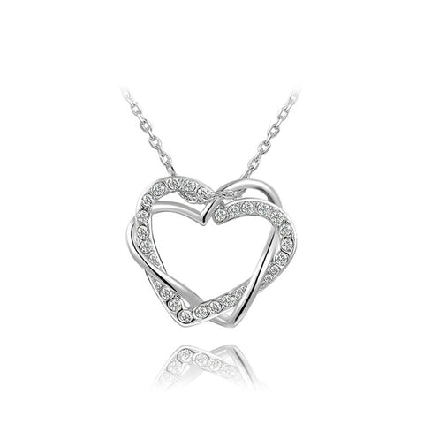 Frosted Double Crystal Heart Necklace