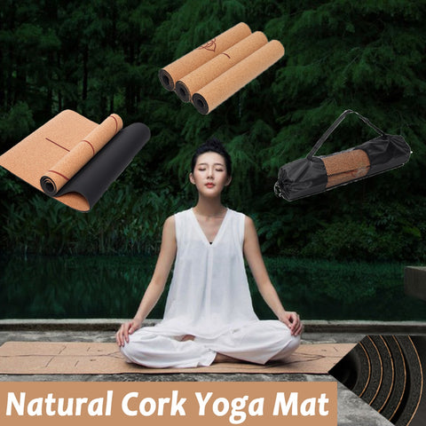 Natural Cork TPE Yoga Mat Non-Slip With Carrying Bag