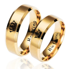Gold Ring His Queen Her King Couples Stainless Steel Women and Men|Rings