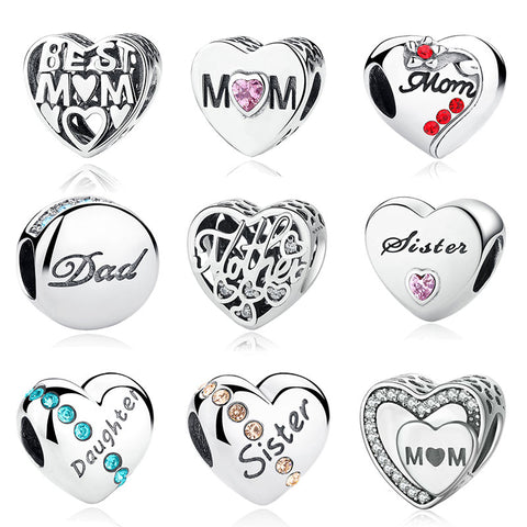 925 Sterling Silver Mother Mom Dad Sister Heart Bead Bracelet Charms