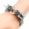 Image of Cool Stainless Steel Double Dragon Bracelet For Men