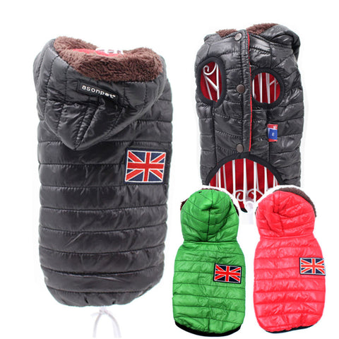 Autumn Winter Warm Hooded Dog Puppy or Cat Jacket Coats