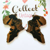 Image of Brown Wood Africa Map Tribal Engraved Black Women Earrings