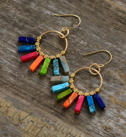 Chakra Earrings Colorful Natural Stones Gold Color Dangle Earrings