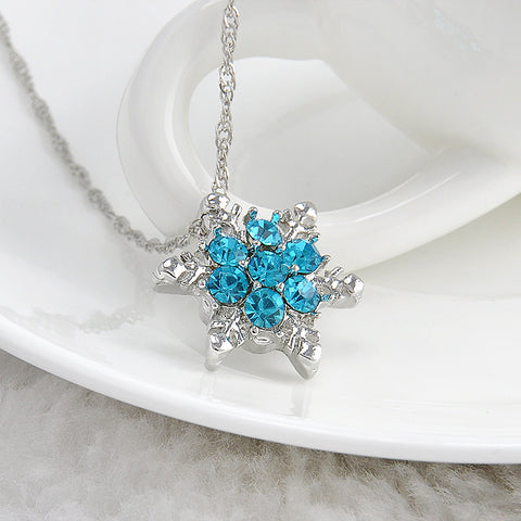 Blue Crystal Snowflake Silver Necklace for Women