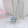 Image of Blue Crystal Snowflake Silver Necklace for Women