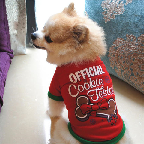 Christmas Dog Clothing Cotton T-shirt Puppy Autumn Winter For Small Dogs