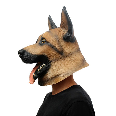 German Shepherd  Latex Animal Dog Head Halloween Costume