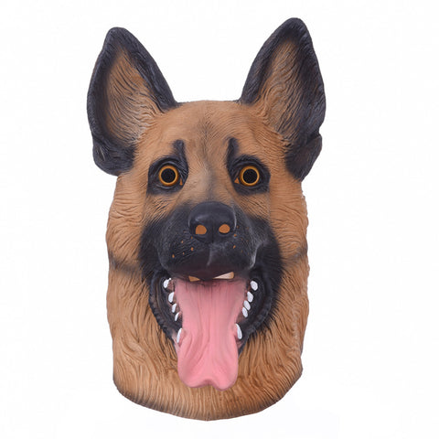 German Shepard Dog Head Adult Breathable Full Face  Latex Mask