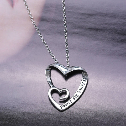 "Double Heart Pendant Necklace ""my sister,my friend"""