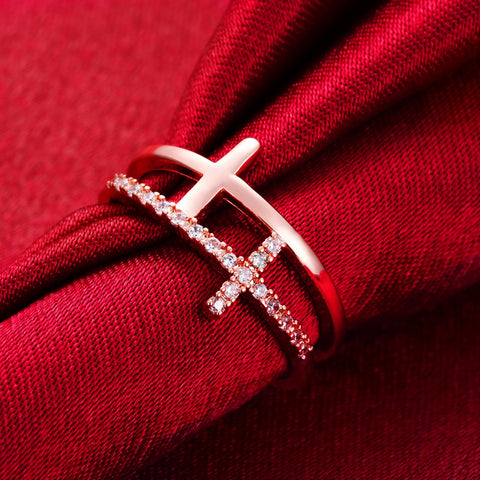 Classic Cross and Crystal Jewelry Adjustable Rings For Ladies