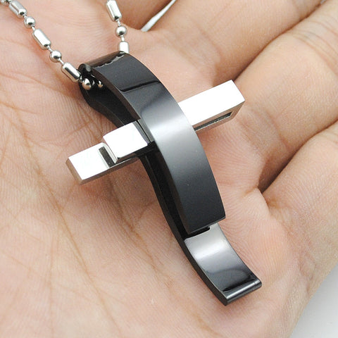 Beautiful Modern Silver Cross Stainless Steel Pendant