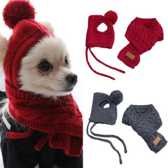Cute Fall-Winter Warm Knitted Pet Hat Scarf Set Dogs or Cats