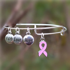 Breast Cancer Awareness Bangle Faith Hope Love Charm Bracelet