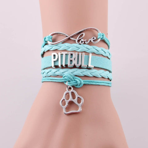 Infinity Love PITBULL Leather Rope Bracelet  Dog Paw Bracelet for Women Men