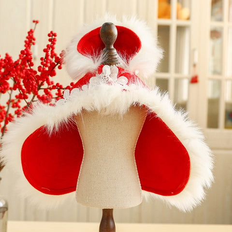 Small Dog Cat Warm Coat Winter Red Cloak Christmas Puppy Pet Clothing