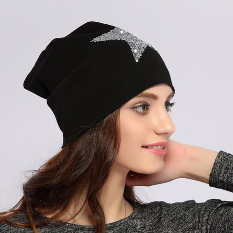 Women's or Girls Star Sequins Warm  Knitted Cotton Beanie Hat