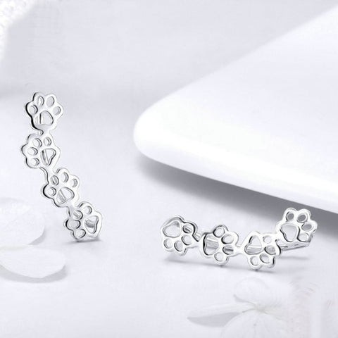 Sterling Silver Dog Cat Paw Print Ear Climber Earrings