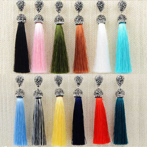 Handmade 12 Colors Long Tassel Earrings Bohemian Crystal Dangle Drop Earrings