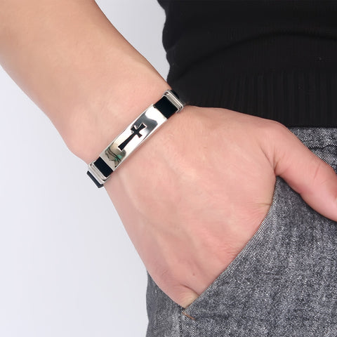 Classic Stainless Steel Cross Bracelet For Men with Spring Clasp