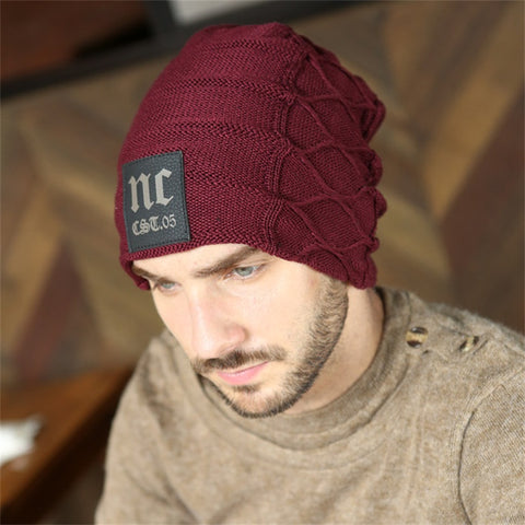 Men's and Women's Winter Beanies Knitted Wool Cotton Blend Slouchy Hat