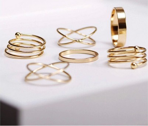 14K Gold Plated Midi Rings Sets For Women
