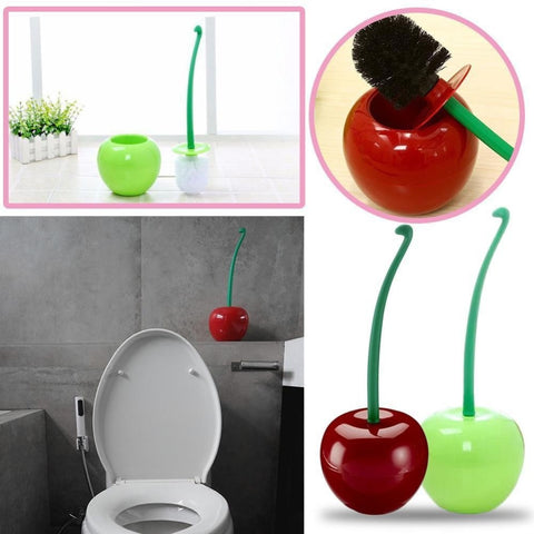 Red/Green Cherry Shaped Toilet Brush Holder Set