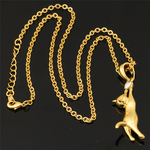 Cute Cat Necklace Jewelry 18K Gold/Platinum Plated with Rhinestone