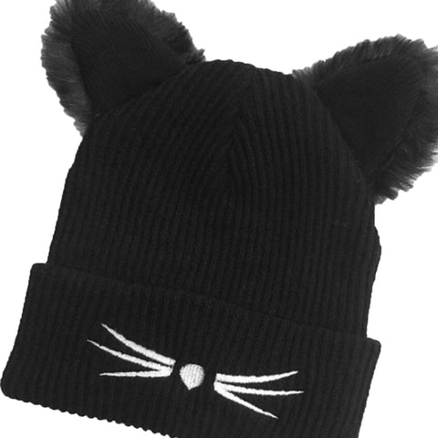 Warm Winter Beanies Hat For Women Wool Knitted  With Faux Mink Cat Ears