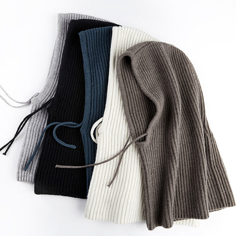Woman's Winter Wool Knitted Scarf Hat Beanies Skullies