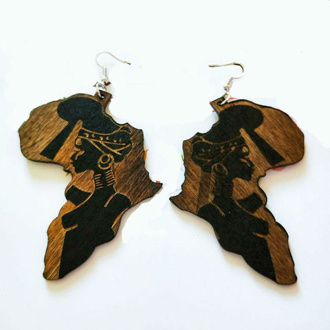 Brown Wood Africa Map Tribal Engraved Black Women Earrings