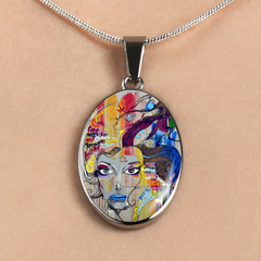 Graffiti Girl Oval Pendant Necklace