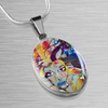Image of Graffiti Girl Oval Pendant Necklace